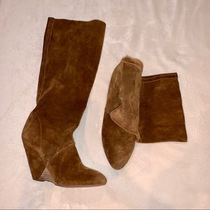 Aldo Suede Chestnut Wedge Boots